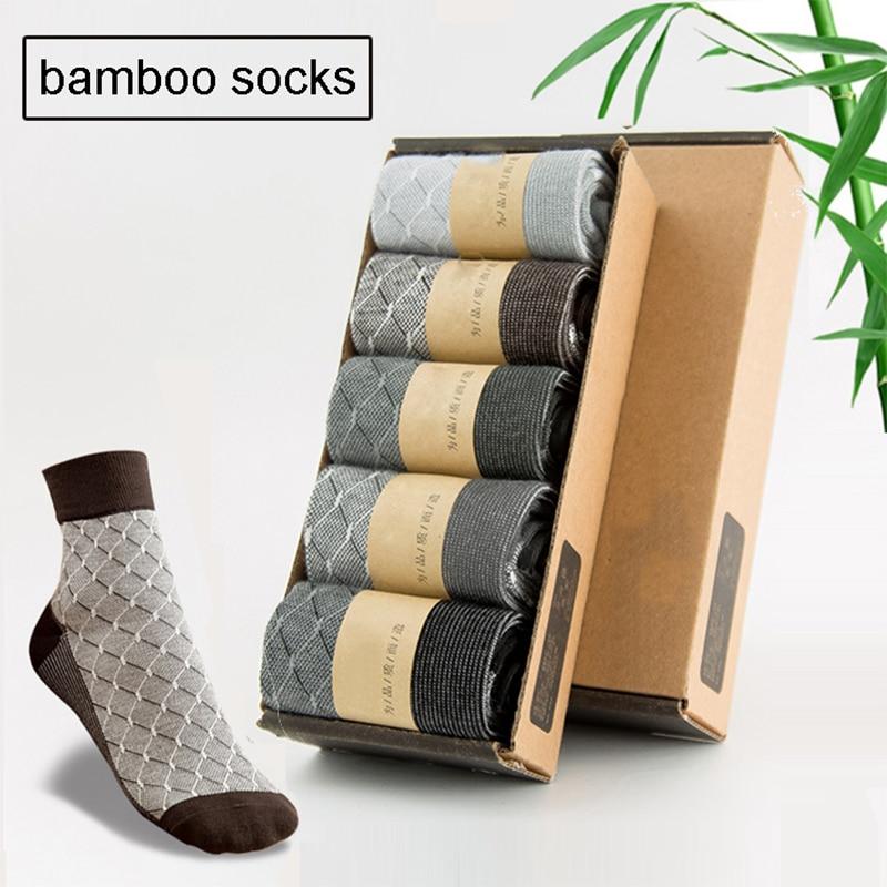 10pcs=5 Pairs/lot Bamboo Fiber Socks Men Health Comfort Long Socks Fashion Autumn Winter For Male US Size 7.5-11.5 New Styles