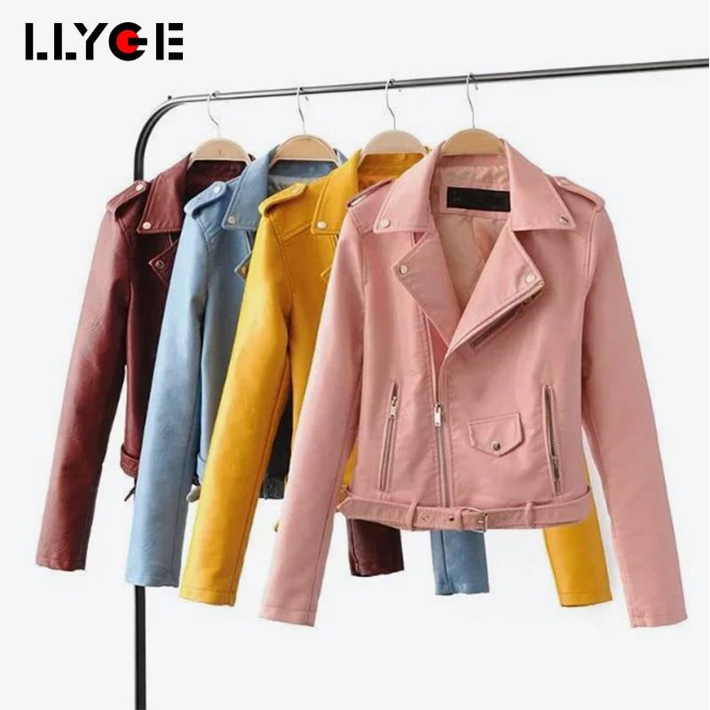 LLYGE Women Autumn Soft Faux   Leather   Jackets 2018 Long Sleeve Motorcycle Multi Zipper Solid Outwears Female PU Biker Overcoats