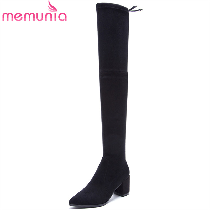 MEMUNIA Over the knee boots flock solid high heels shoes stretch long boots pointed toe autumn winter womens boots female the explosion of the classic all match solid colored body hip high elastic denim pants feet female winter bag mail