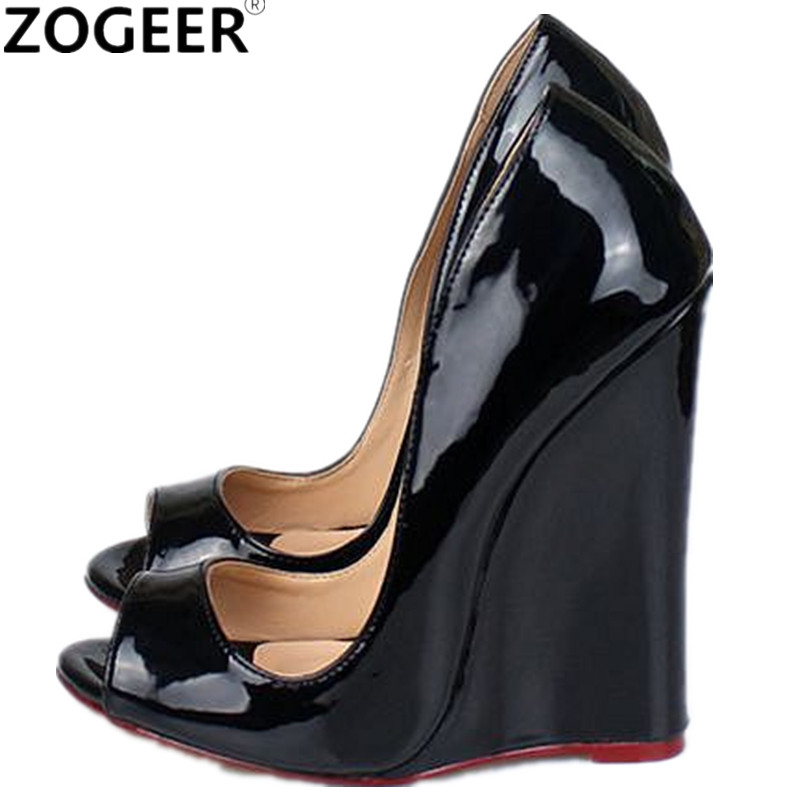 Plus Size 46 Fashion Women Pumps Extreme High Heels Wedges Summer Pumps For Women Sexy Peep Toe Black Red Wedding Party Shoes summer bling thin heels pumps pointed toe fashion sexy high heels boots 2016 new big size 41 42 43 pumps 20161217