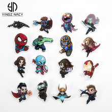 Marvel Lencana Avengers Bros Pin Thor Pin Film Endgame Perhiasan Iron Man Captain America Spiderman Bros untuk Wanita Pria Hadiah(China)