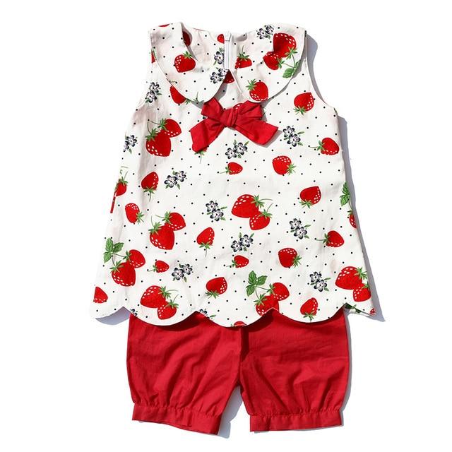 2018 Горячие новорожденных оптовая продажа детской одежда для малышей Лето  клубника рубашки для девочек + красные 51e9d6fd92261