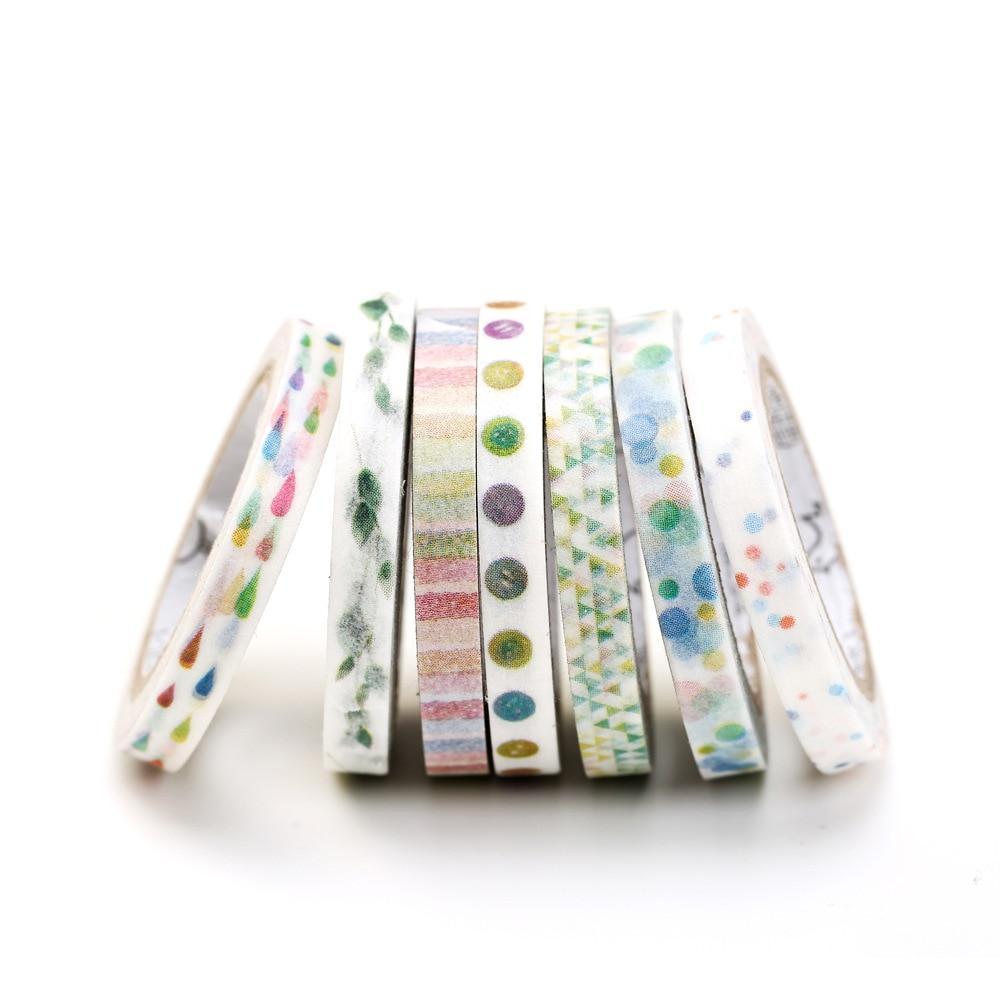 12 Cute 5mm X 7m Skinny Decorative Adhesive Tape Masking Washi Tape DIY Scrapbooking Sticker Label School Office Supply