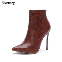 Rxemzg women shoes sexy pointed toe embossed leather winter ankle boots women fashion metal high heels runway boots plus size 45