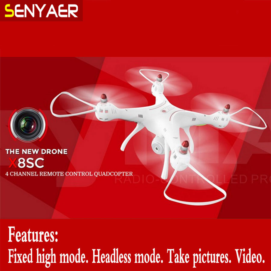 The latest listing Syma X8SC 2.4G 4CH 6 Axis RC Quadcopter RTF Drone With HD Camera Barometer Set Height Mode with LED Light original syma x8sw wifi fpv hd camera drone 2 4g 4ch 6 axis rc quadcopter with barometer set height mode rtf toys