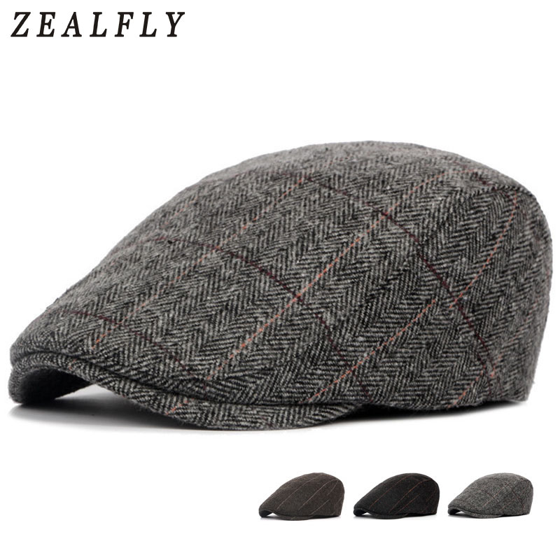 Herringbone Berets Caps For Men Casual Peaked Cap Berets British Retro Flat Ivy Cap Adjustable Tweed Gatsby Bone