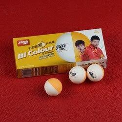 Bolas de tênis de mesa da cor do dhs bi (cor dobro, liga super de china, abs 40 + bolas seamed) bolas de pong de ping plástico