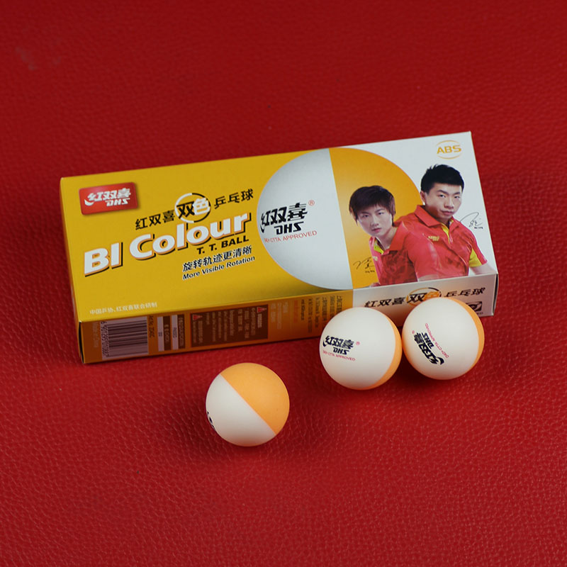 DHS BI Colour Table Tennis Balls (Double Color, China Super League, Seamed ABS 40+ Balls) Plastic Ping Pong Balls