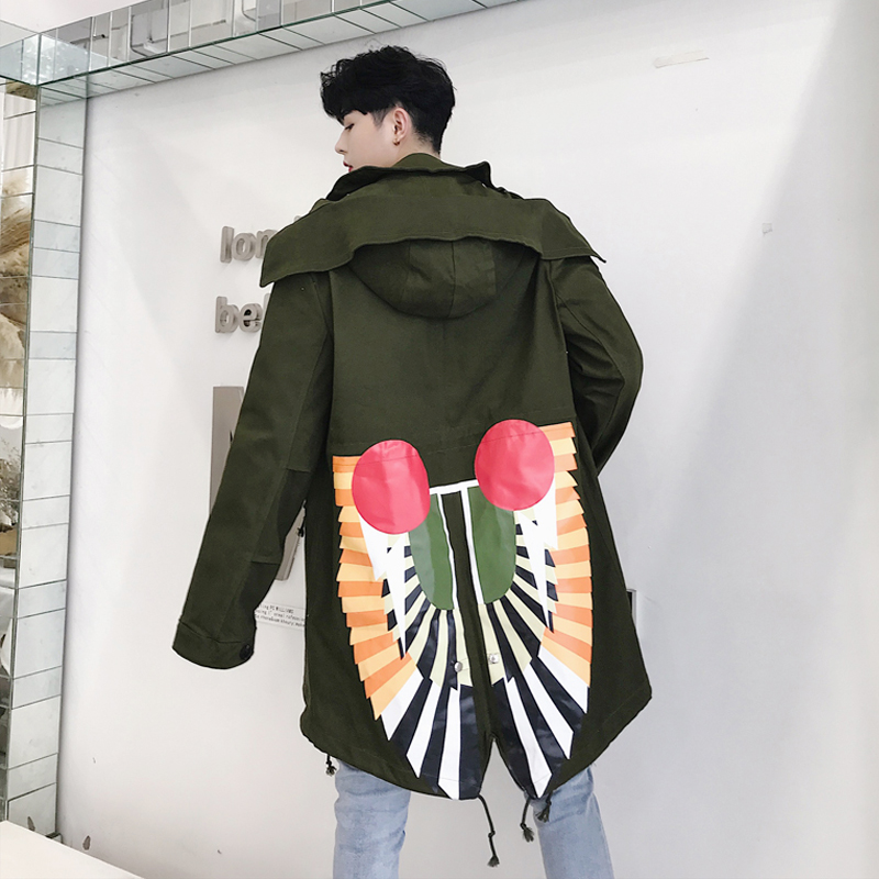 Autumn designer's alternative print personality trench coat for popular logo men's long hooded coats.