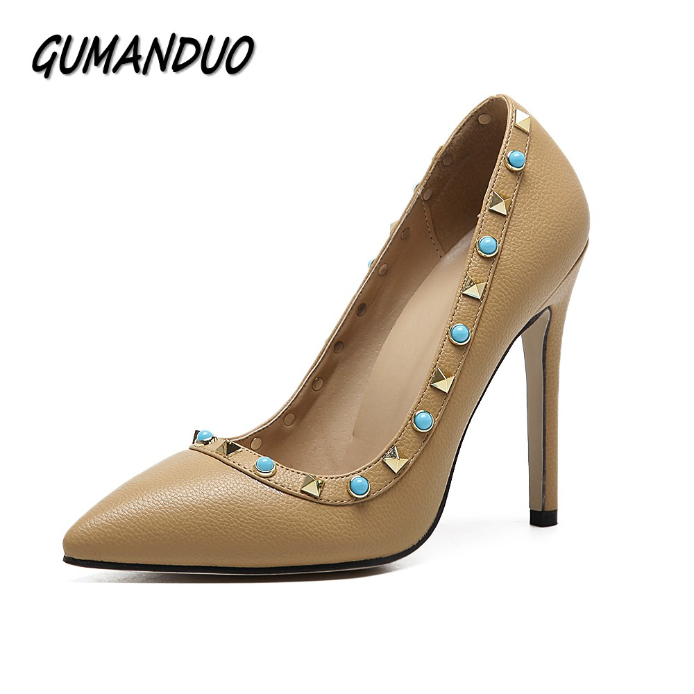 все цены на  GUMANDUO spring summer new women pumps fashion rivets high heels shoes woman party wedding dress sexy stilettos shallow 35-40  в интернете