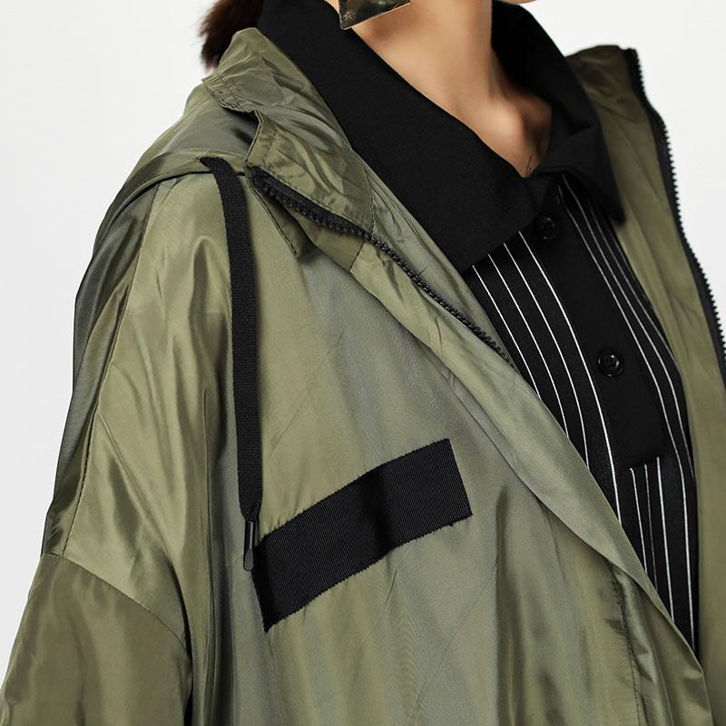 xitao Black À Nouvelles green Pleine Tranchée Zll1375 Capuche Col Casual Corée Automne Patchwork line La Manteau Femmes Manches A Zll1375 Longue Femelle 2018 Mode rrPxw1