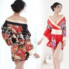 Women Japanese Kimono Sleepwear Sexy Deep V-neck Kimono Satin Floral  Printed Nightwear Short Bath fd94f40d0