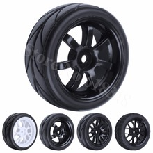 4Pcs Soft Rubber Wheels Tyre 26mm Hex Hub 12mm For 1 10 On Road Fit HSP