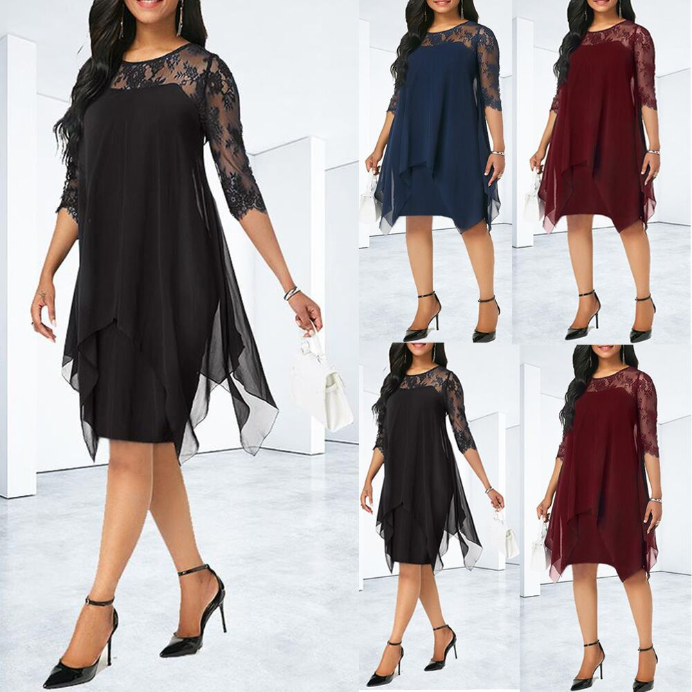 ebc6d07bf41 Chiffon Dresses Women New Fashion Chiffon Overlay Three Quarter Sleeve  Stitching Irregular Hem Lace Dress
