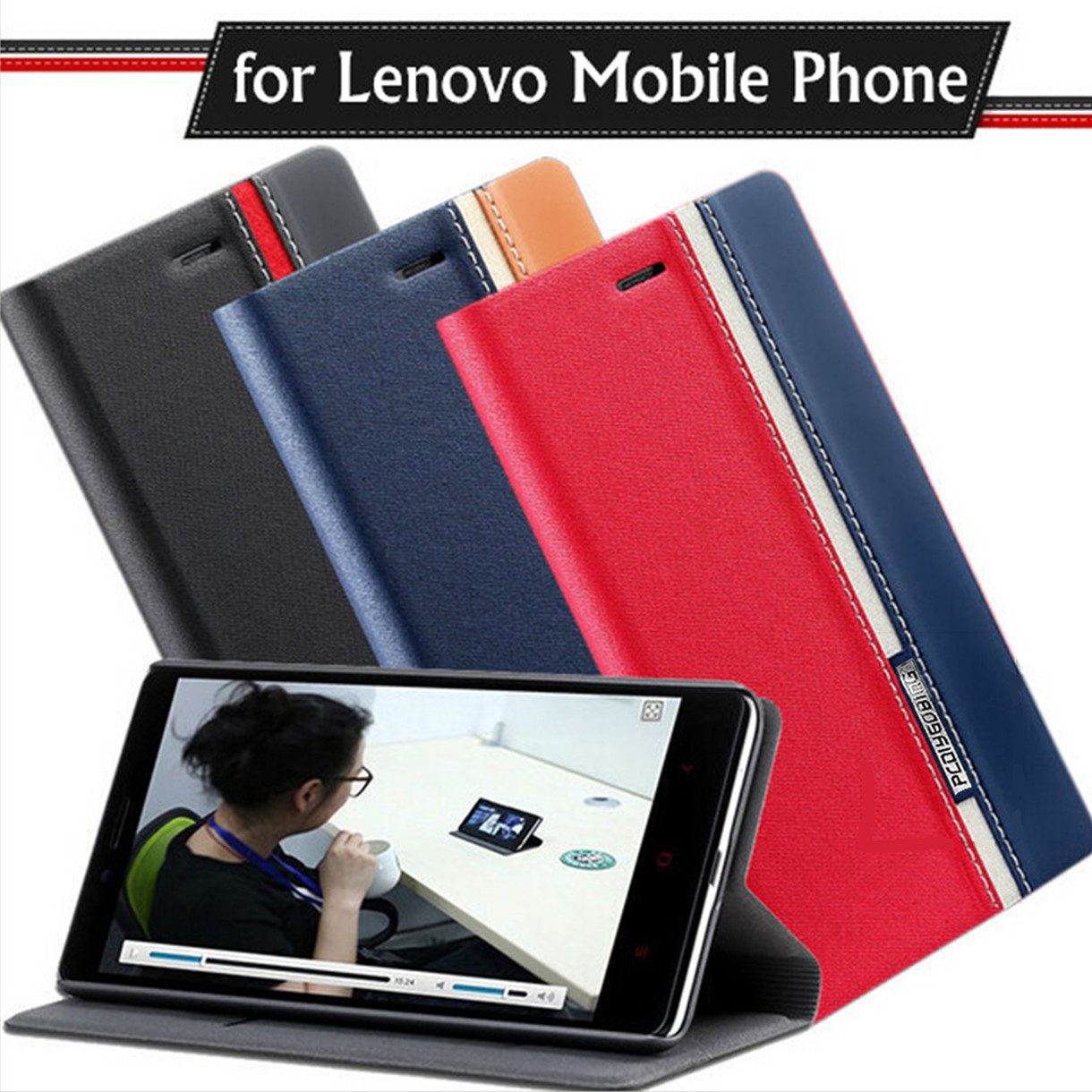New case for Lenovo Vibe C A2020 C2 K10A40 P1 P1M X3 X2 A1000 A2800 K5 Note Double color Flip PU Leather back cover Shell