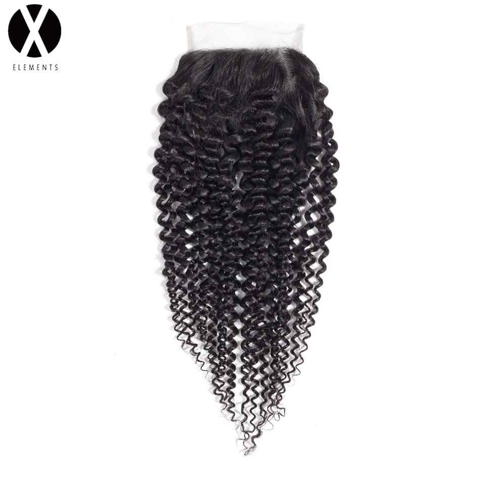 X-элементы 4*4 Синтетическое закрытие шнурка волос-Реми странный вьющиеся Синтетические волосы соткут Малайзии Пряди человеческих волос для...
