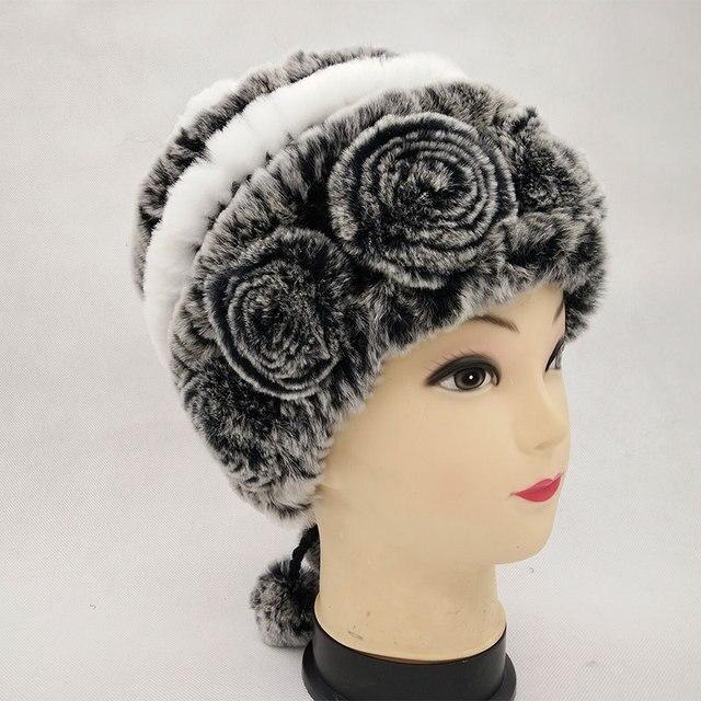 03000a90040 Autumn winter lady fur cap real rex rabbit fur hat headgear headdress women  warmer skullies Wholesale Free shipping Rated 4.9  5