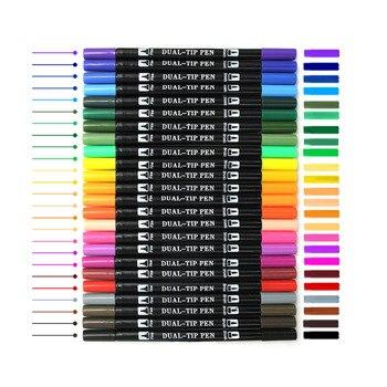 cd6fae2991a6 Dual cepillo plumas 24 Color caligrafía pluma con letras de mano guía bien  forro y Punta de cepillo marcadores Lápices de colores arte