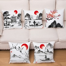 Classical Ink Scenic Print Cushion Cover Super Soft Short Plush Pillow Covers 45*45 Throw Pillows Cases Home Decor Pillowcase