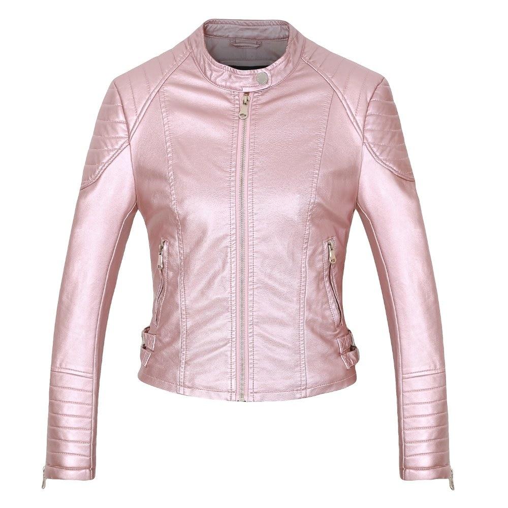 Damen 28OFF Rosa Braun Mantel 87 Casual Elegante Jacke Schlank Mode Frauen Reißverschluss US27 marke Kunstleder Biker Schwarz N8mOn0wyv