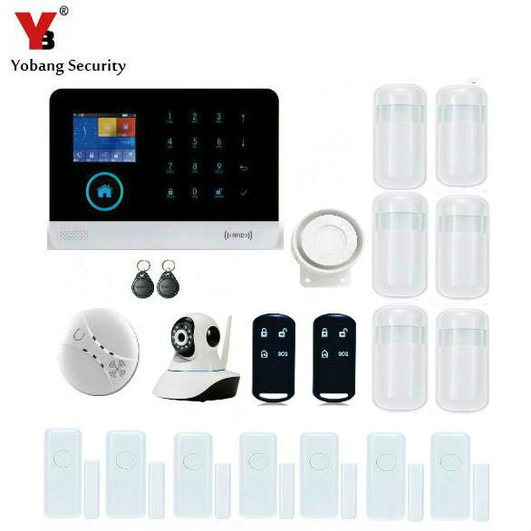 YobangSecurity Touch Keypad Wifi GSM GPRS RFID Home Security Voice Burglar Alarm Smoke Fire Detector Door PIR Motion Sensor diy touch keypad wireless gsm sms autodial smart home security burglar alarm system smoke sensor voice pir emergency
