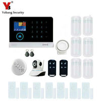 Yobangsecurity сенсорной клавиатурой WiFi GSM GPRS RFID Главная Безопасность Голос Защита от взлома Дым пожарный дверь детектор движения PIR Сенсор