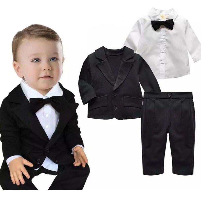 e47471bec4f 3PCS 0-24Months Spring Autumn Baby Outfit Boys Clothes Gentleman Suit Black  Jacket+White Shirt+Pants Newborn Clothing Set BC1018