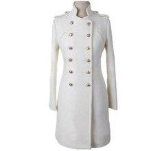 Новое осенне-зимнее женское двубортное шерстяное пальто в стиле милитари с воротником-стойкой