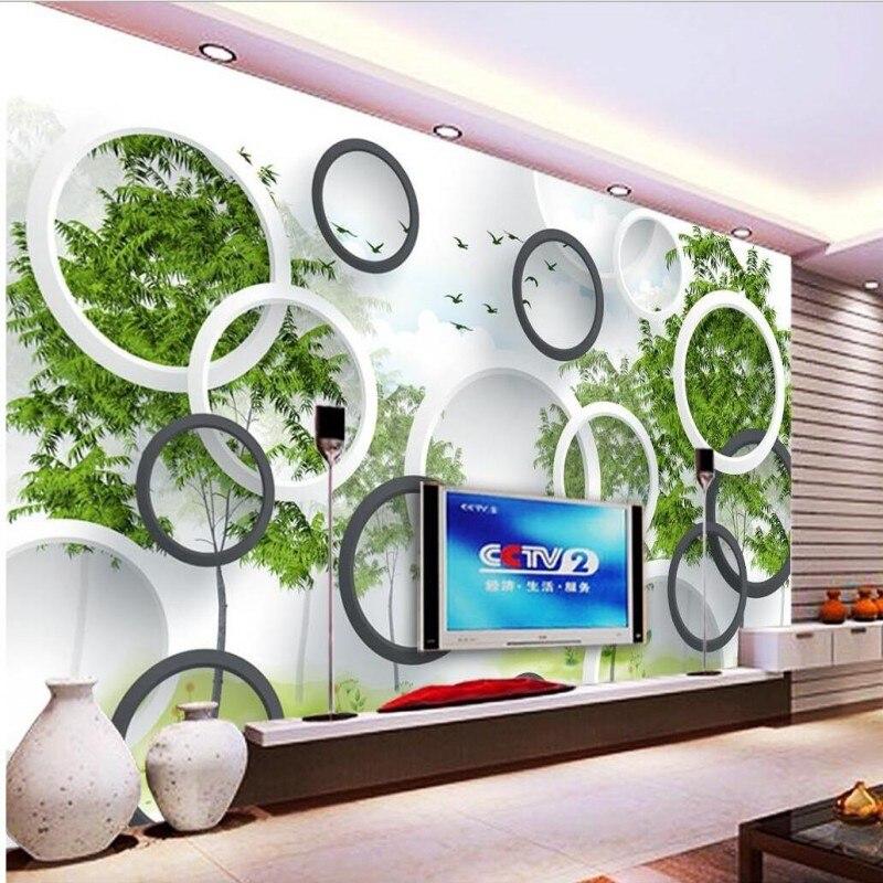 Custom Wallpaper Murals Circle Abstract Forest Birds 3D Stereoscopic TV Backdrop Living Room Room Photo Wallpaper Beibehang