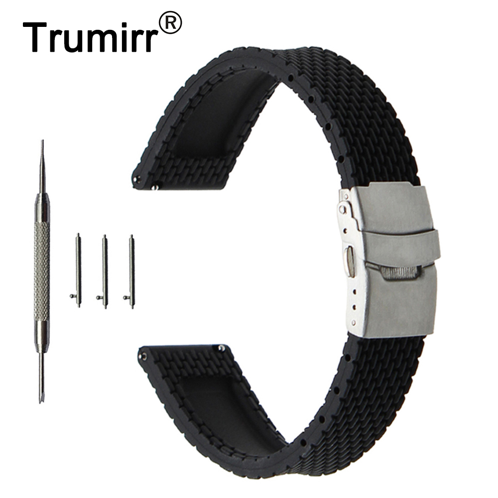 Quick Release Silicone Rubber Watchband 20mm 22mm 24mm for Diesel Stainless Steel Safety Buckle Strap Wrist Belt Bracelet + Tool 22mm 24mm silicone rubber watchband tool for garmin fenix 5 epix vivoactive hr watch band wrist strap 316l steel clasp bracelet