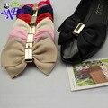 1 par amarillo bowtie zapatos de tela clip de perlas de cristal accesorios de calzado con pegamento B350