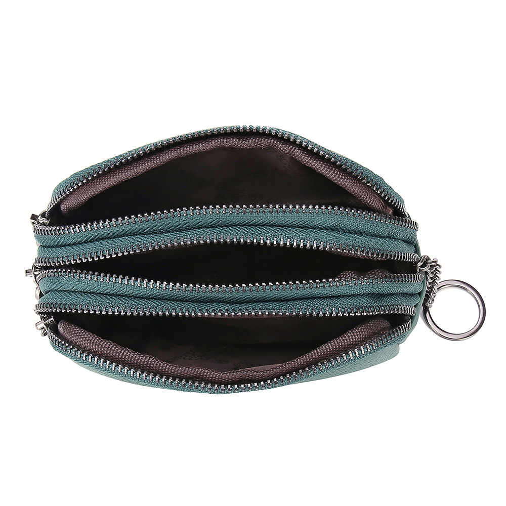 Women's Coin Purse Genuine Leather Head Cowhide Japanese Style Simple Mini Three Zipper Wallet Key Bags Large Capacity Portable