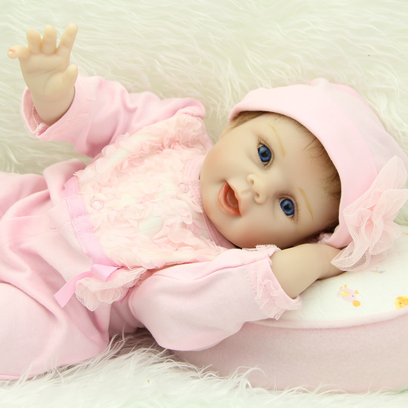 22 Inch Soft Silicone Newborn Girls Baby Realistic Reborn Babies Dolls With Pink Clothes Children Birthday Xmas Gift 15 real reborn babies silicone reborn dolls for girls children s birthday gift new lifelike baby newborn dolls with clothes