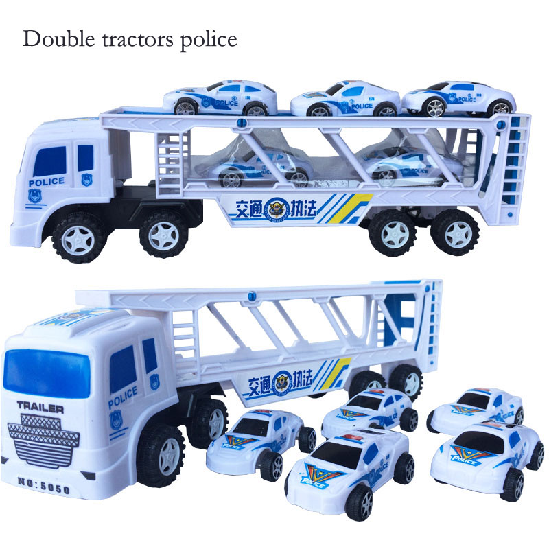 New Inertia tractors car double tractors police children's toy car small truck with 5 small police cars toys SZJUYI image