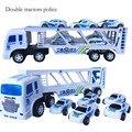 Novos tratores tratores Inércia carro duplo brinquedo das crianças do carro da polícia caminhão pequeno com 5 pequenos carros de polícia brinquedos SZJUYI