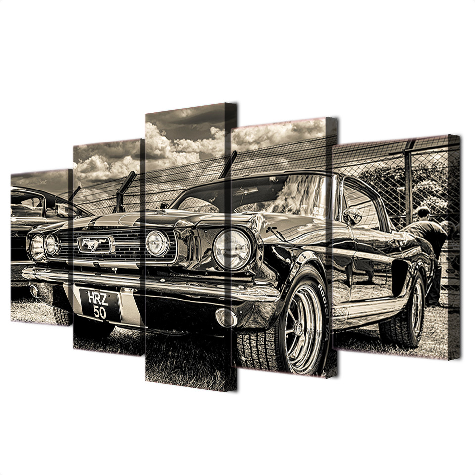 Modular HD Print Artwork Modern Sports Car Poster Home Decor Wall Art 5 Pieces Pictures 1965 Ford Mustang Canvas Painting PENGDA 1