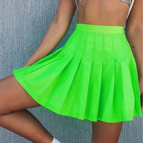 Пикантные вечерние ночной клуб Светоотражающие плиссированные юбки женские Молния сзади тренировки Bodycon флуоресцентный зеленый Высокая Талия юбки - Цвет: fluorescent green