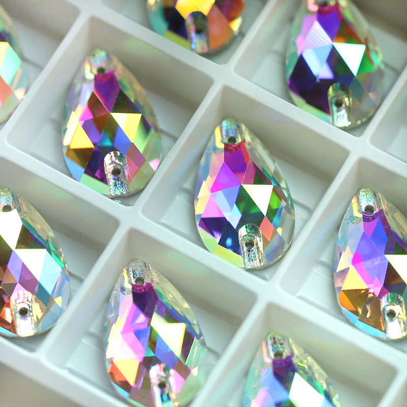 Image 4 - Crystal AB Large Size 4 Shapes AAAAA Quality Boutique Shape Sew On Rhinestones Sewing Beads For Dress Making Jewelry Decoration-in Rhinestones from Home & Garden