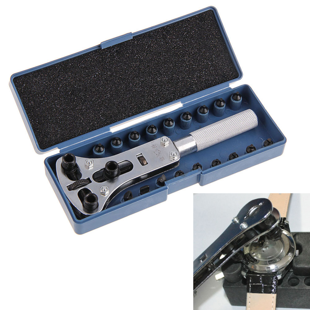 CRV Steel Adjustable Screw Watch Back Case Cover Opener Remover Wrench Repair Tool Kit with 18pcs Replaceable Parts Pins цена