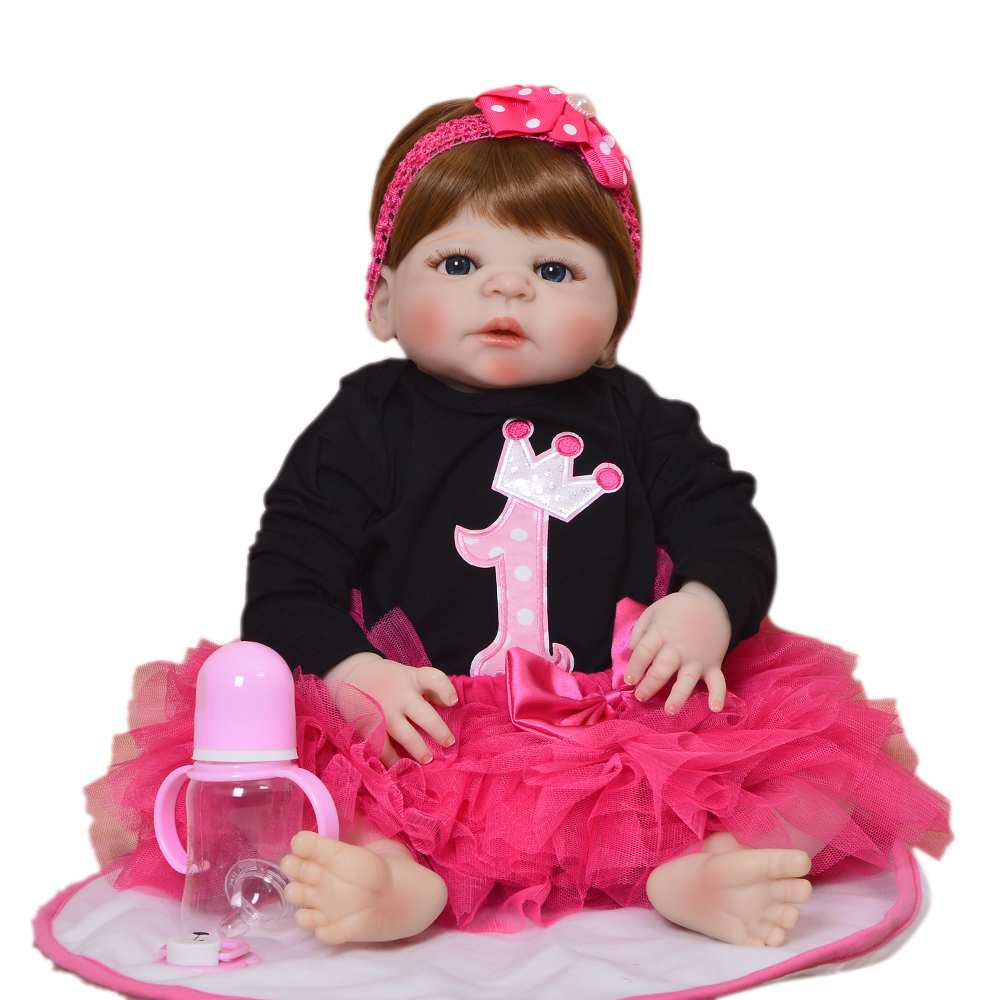 57cm Realistic silicone Doll Reborn 22 Inch Full Vinyl Bonecas adorable princess For Girls menina dolls birthday gift hot sale57cm Realistic silicone Doll Reborn 22 Inch Full Vinyl Bonecas adorable princess For Girls menina dolls birthday gift hot sale