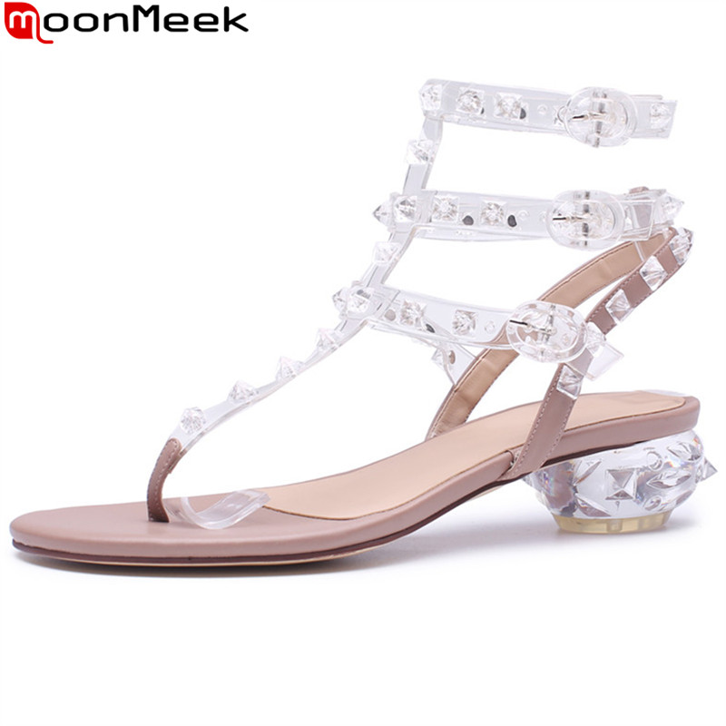 MoonMeek 2018 fashion summer new arrivla shoes woman casual ladies shoes buckle sweet med heels women sandals genuine leather new women sandals low heel wedges summer casual single shoes woman sandal fashion soft sandals free shipping