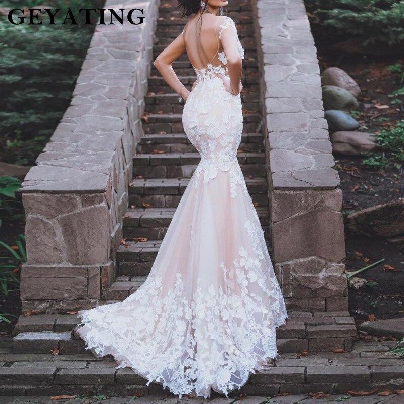 Vintage Wedding Dresses 2019: Blush Pink Mermaid Wedding Dress 2019 Vestidos De Novia