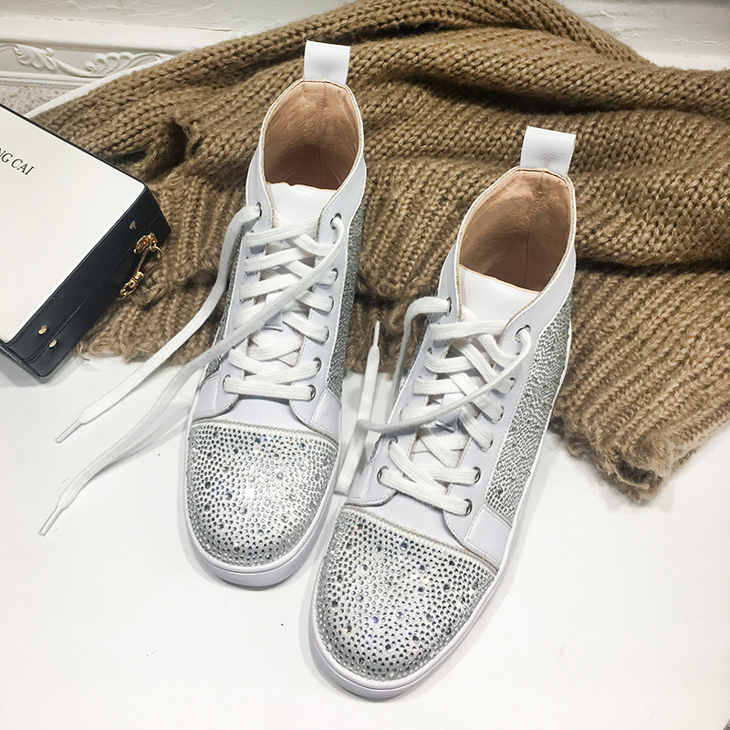 Femme As Sneakers Sole Diamant as En Up Femmes Argent Cuir Rose Show Haut Show Dentelle Rivets dessus Étendu Des Classique Cheville Chaussures Booites Mode Pour wx1qYXYR