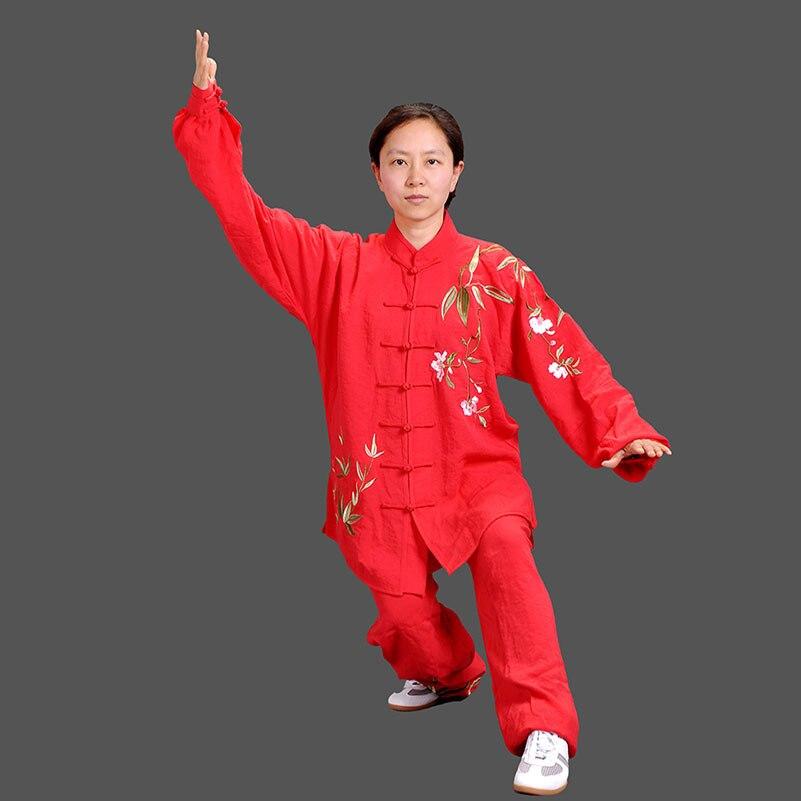 Одежда Yiwutang Tai chi, китайская форменная форма для кунг-фу, льняные костюмы для ушу, костюмы для военных учений, вышивка, дышащая, easycare, бесплатн...