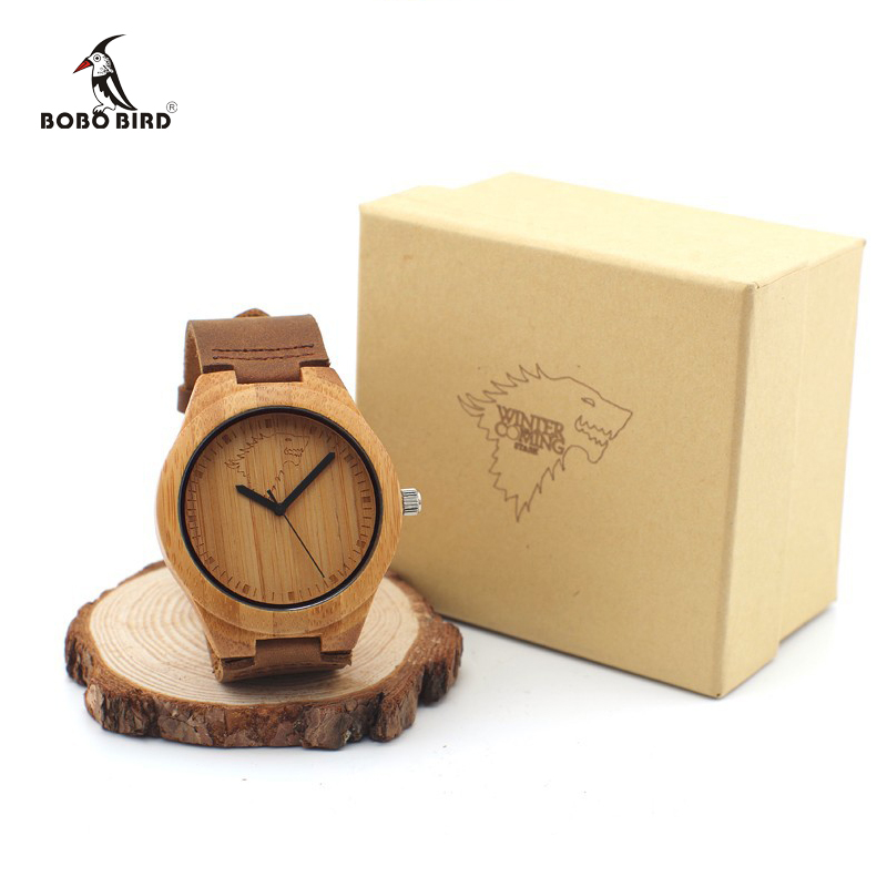 BOBO BIRD Brand Wolf-Design Men Watches with Genuine Leader Strap Best Bamboo Watch Wood Wristwatch Japan Quartz-watch as Gifts bobo bird metal case with wooden fold strap quartz watches for men or women gifts watch send with wood box custom logo clock