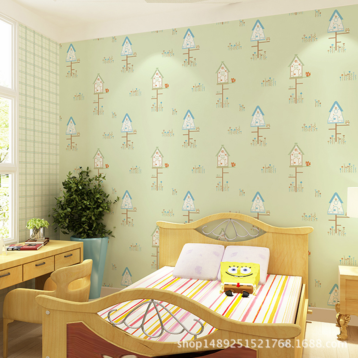 0.53x10m Children room wallpaper pink girl blue boy bedroom living ...