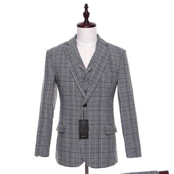 New Mens Casual Blazers Jacket Light Gray Plaid Pattern Wool Slim Fit England Business Wedding Mens Suit Coat Size Custom