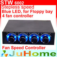 4 CPU Fan Speed Control Floppy Position Blue LED Light 4 Channel CPU Fan Speed Controller