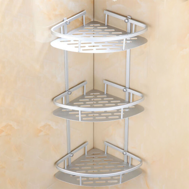 Matte E Aluminium Shelves Triangular Shower Caddy Bathroom Wall Corner Rack Storage Organizer Holder