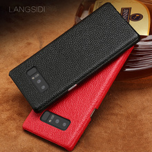 цены на Genuine Leather Lychee texture protective case for Samsung S10 plus S9 S8 note9 note 8 Business phone case for Samsung A70 A8 J7  в интернет-магазинах